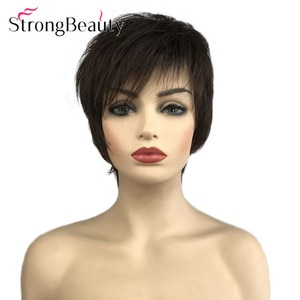 StrongBeauty Short Straight Wig Lady Hair Synthetic Women Daily Wigs