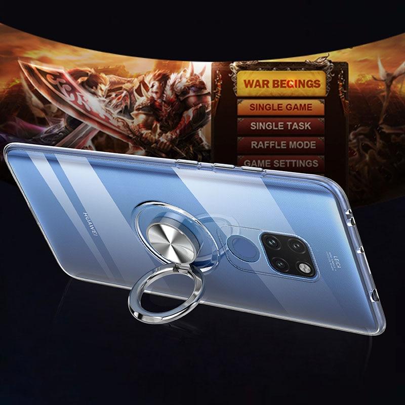 Luxury Magnetic Transparent Invisible Case For Huawei P40 Pro P20 P30 Mate 20 20x Nova 3e 4 4e Lite Bracket Soft Silicone Cover
