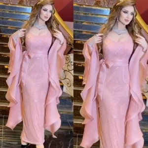 sequins prom dresses 2021 sweetheart neckline long sleeve ruffle sparkly shinning mermaid sheath long pink evening dresses gowns