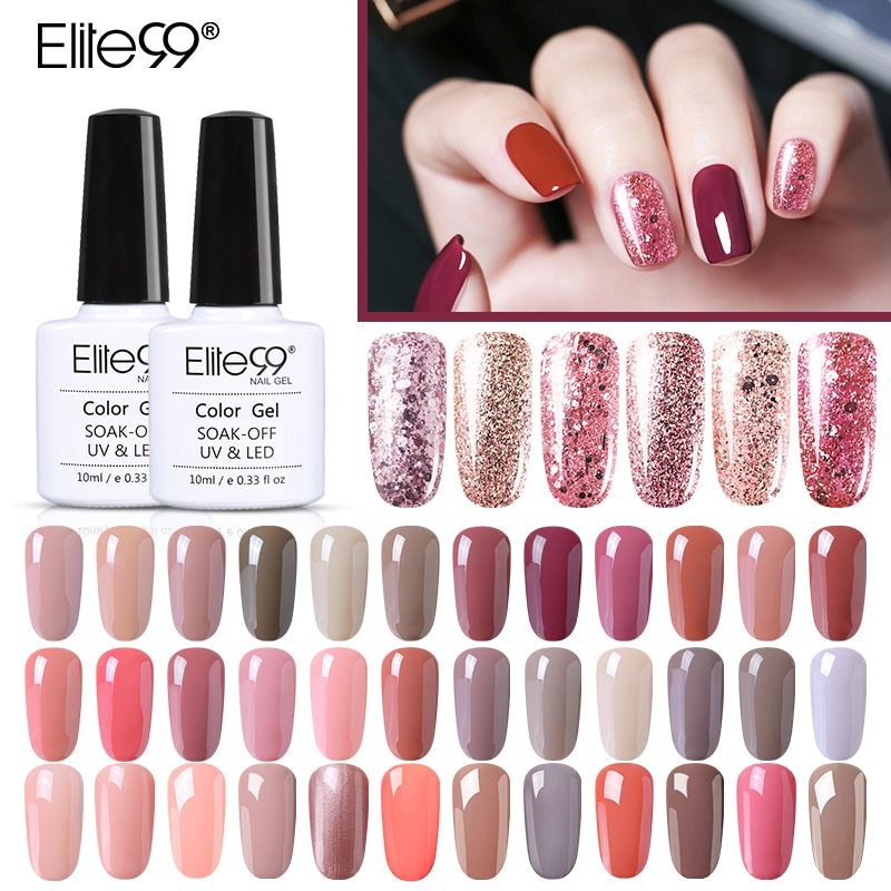 Elite99 Rose Gold Gel Polish 10ml Nude Glitter Nail Polish Holographic Rose Gold Sequins Nail Gel So