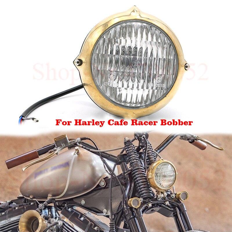Universal H4 55W motocicleta Retro faro delantero polaco latón cabeza lámpara para Harley Cafe Racer Bobber