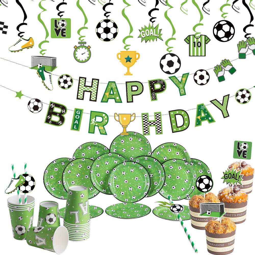 Tema de futebol crianças decorações de festa de aniversário pendurado banner/redemoinhos placas de papel bolo topper copa do mundo chá de fraldas fontes de festa