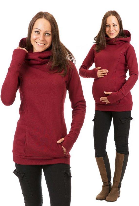 Nursing Wear Sweatshirt For Pregnant Woman Hooded 2020 Brand New Long-sleeve Half-finger Plus Velvet Thicken Solid Color enlarge