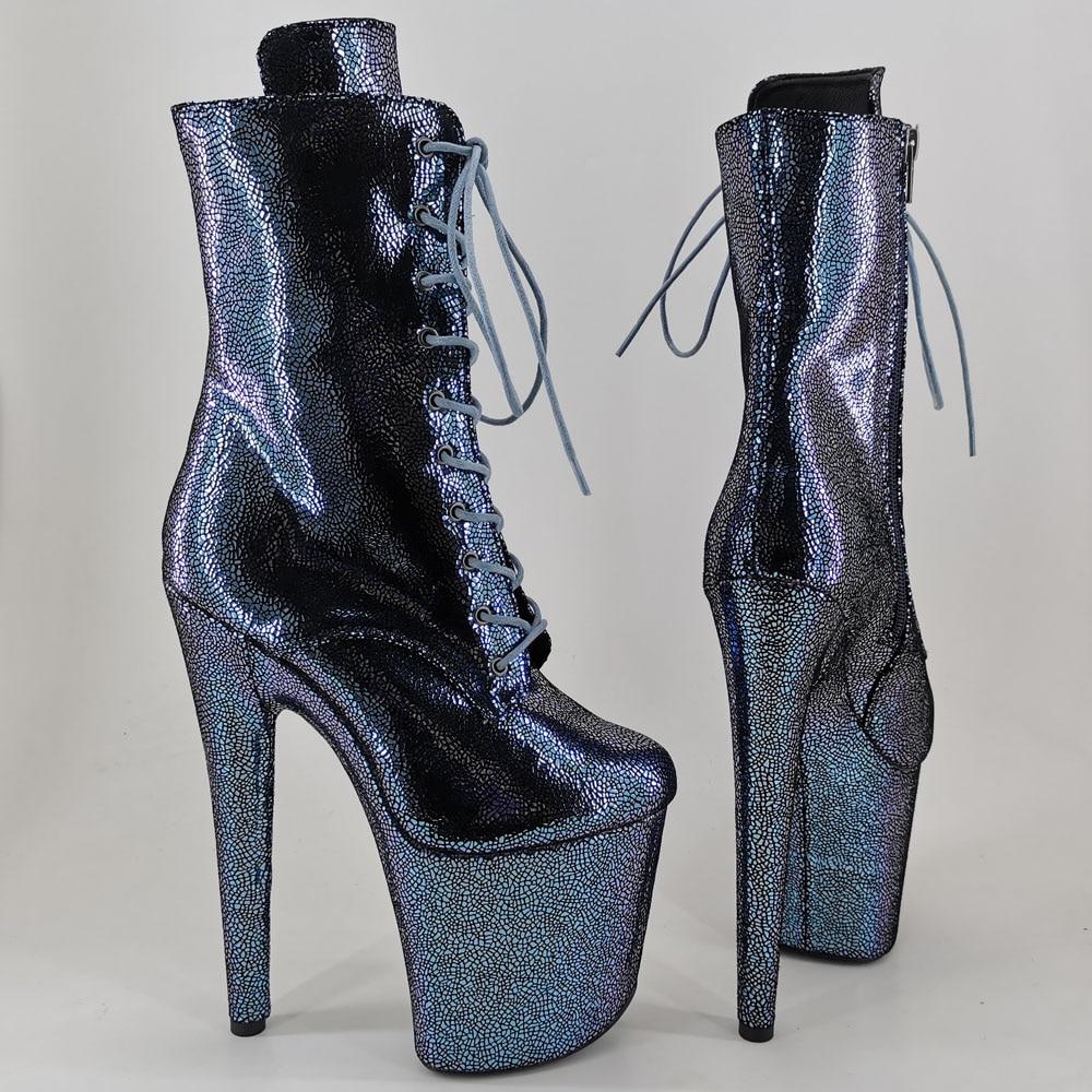Leecabe 20CM/8Inch Women's Platform disco party High Heels Genuine Leather Pole Dance boot