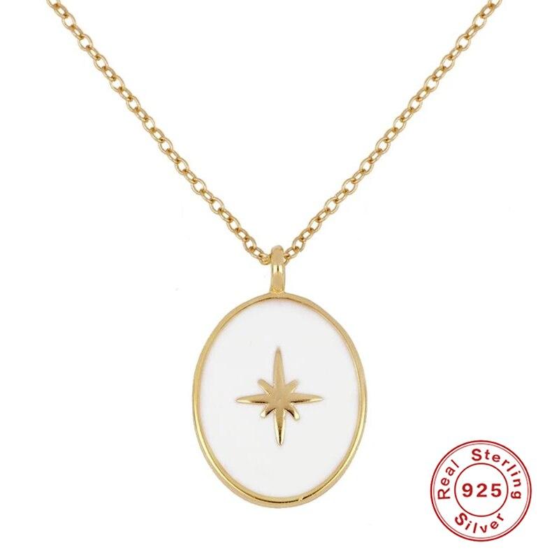 Sólido 925 prata esterlina jóias gargantilha colares clavícula elo corrente colgante colares para aniversário festa presente