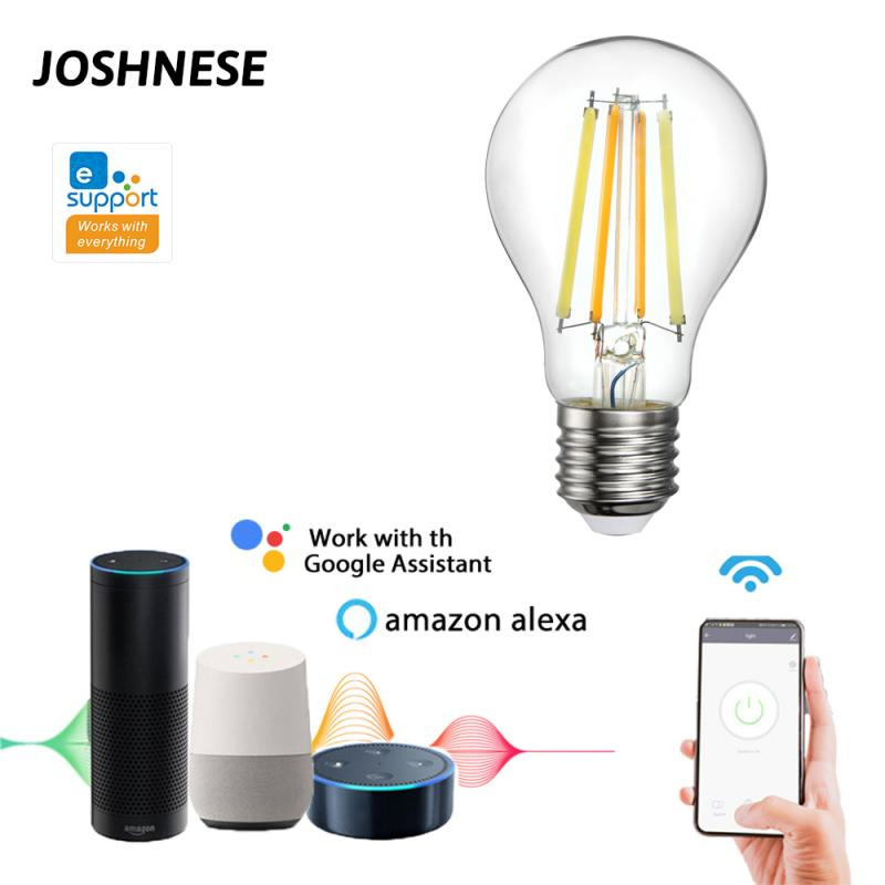 JOSHNESE EWeLink APP WiFi Smart Filament Bulb 220V Dual-color Bulb E27 7 5W Smart Home Led Light Bulb Alexa Google Home IFTTT