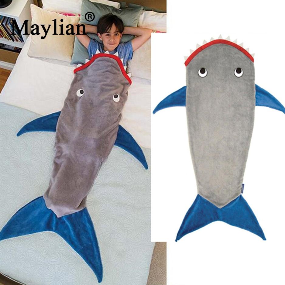 Tiburón manta de cola de sirena saco de dormir niños saco de dormir polar Otoño e Invierno grueso caliente para niños niño niña T188