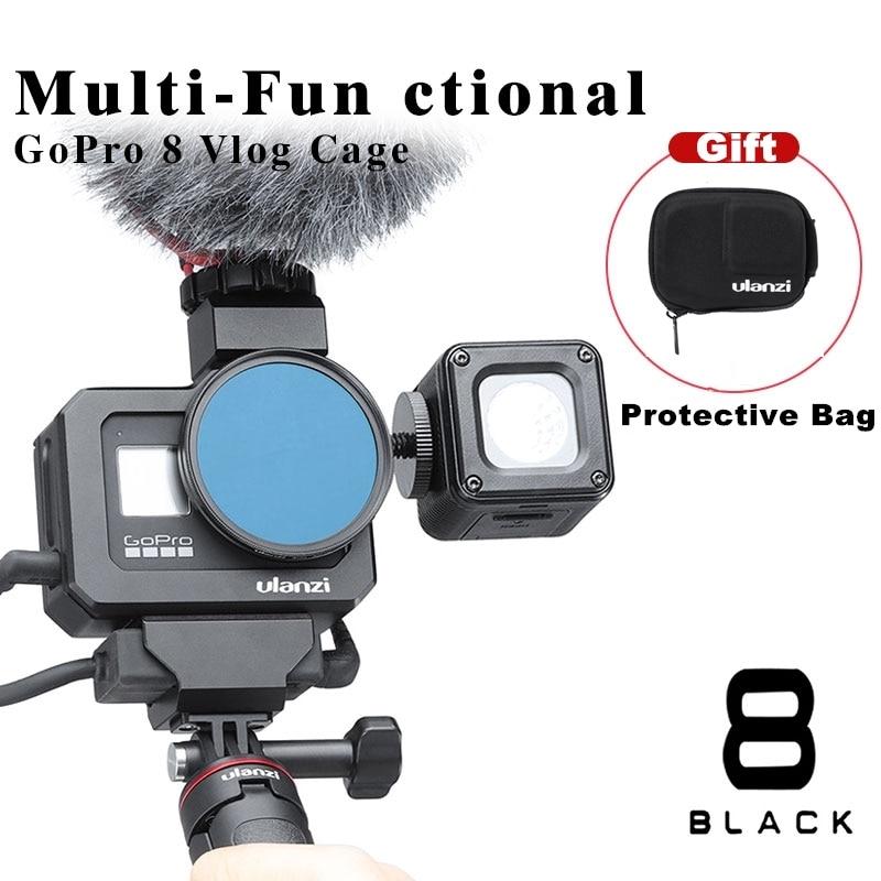 ULANZI G8-5 CÁMARA DE Metal jaula para Gopro Hero 8 negro vlogg Cage Dual zapato frío para micrófono LED luz acción accesorios de la cámara