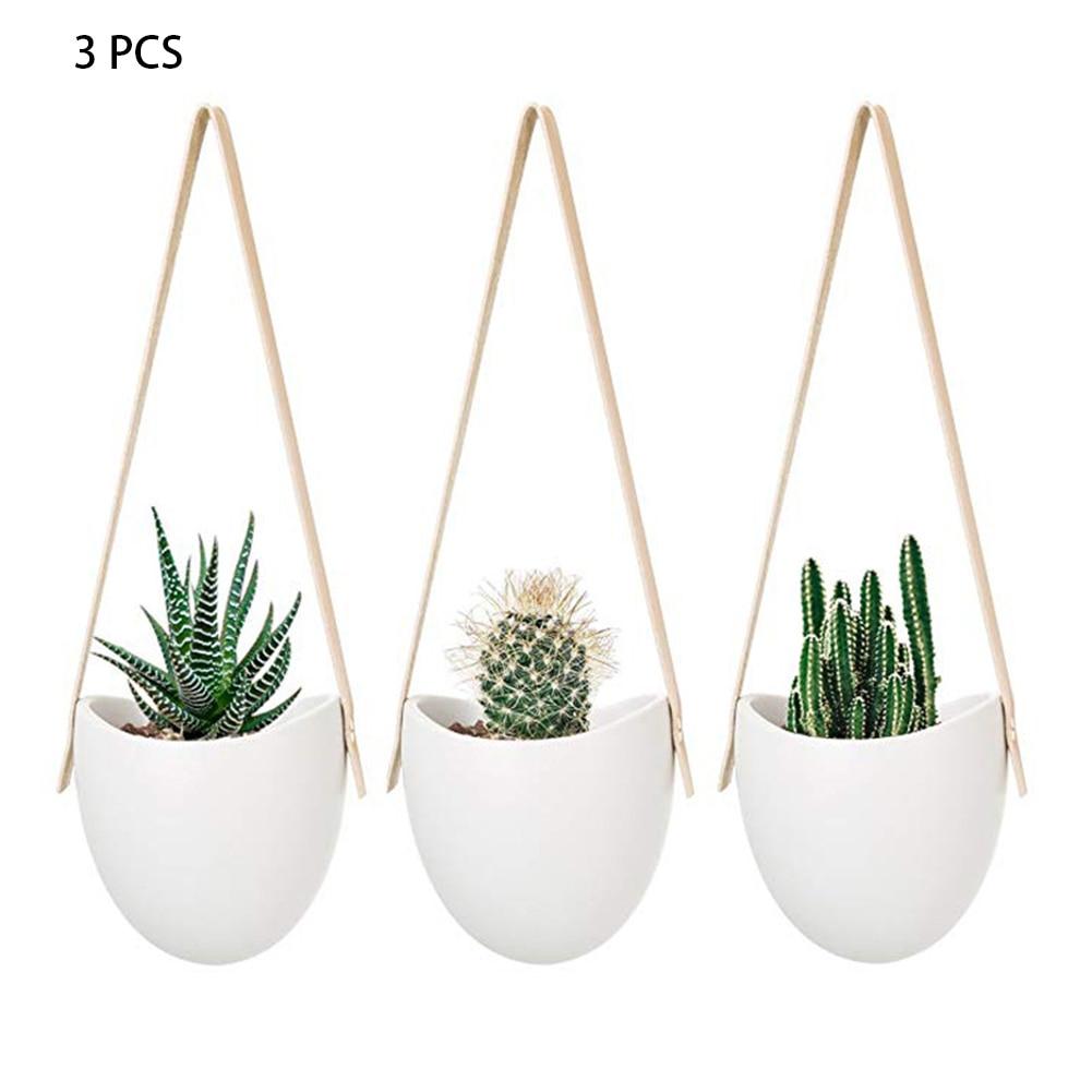 3 pçs pendurado plantador suculento com corda casa moderna cerâmica vaso de flores decorativo estilo nórdico titular prático branco elegante
