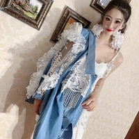 women denim lace jacket stitching luxury loose casual jacket bowknot girl casual hollow out lace spliced floral long jacket