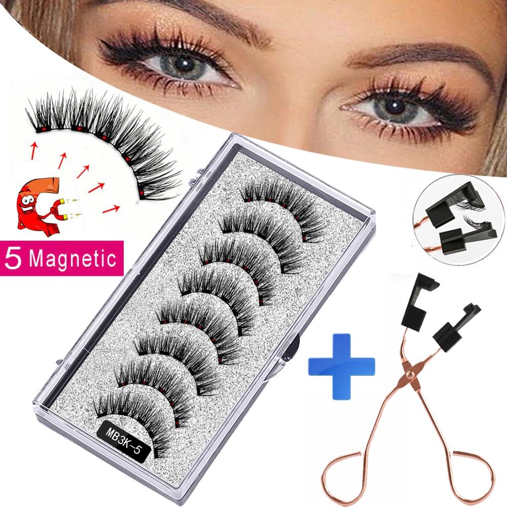 MB3K 5 magnetic eyelashes natural with 3D magnet handmade 8PCS magnetic lashes Tweezer Set Mink eye lashes faux cils magnetiqu