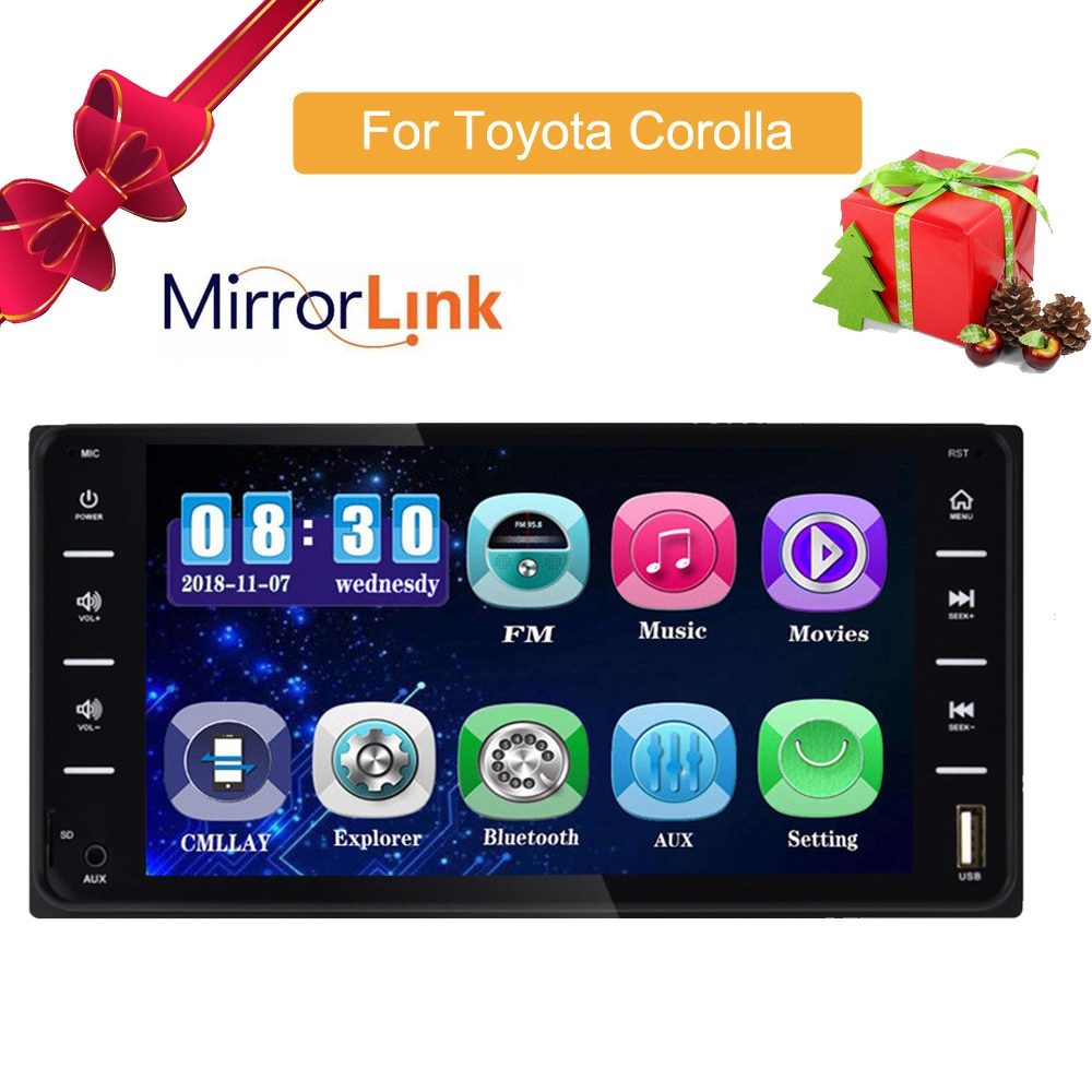 Car Audio MP5 DVD Player For Toyota Corolla 2 Din Touch Screen Multimedia Android/IOS MirrorLink Blu