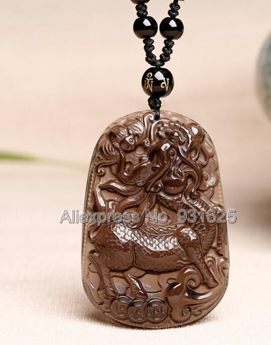 Подлинная из натурального прозрачного камня, прозрачный, резной PiXiu Kylin Lucky Amulet кулон + черные бусины ожерелье сертифицированные ювелирные у...
