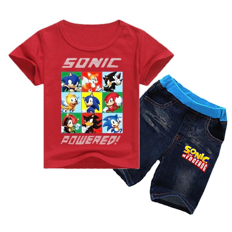 Conjunto de 2-16 camisetas de verano de Sonic The Hedgehog para niños, conjunto de 2 uds. De tela vaquera de pantalones cortos, trajes para niñas pequeñas, conjuntos de ropa de moda para niños