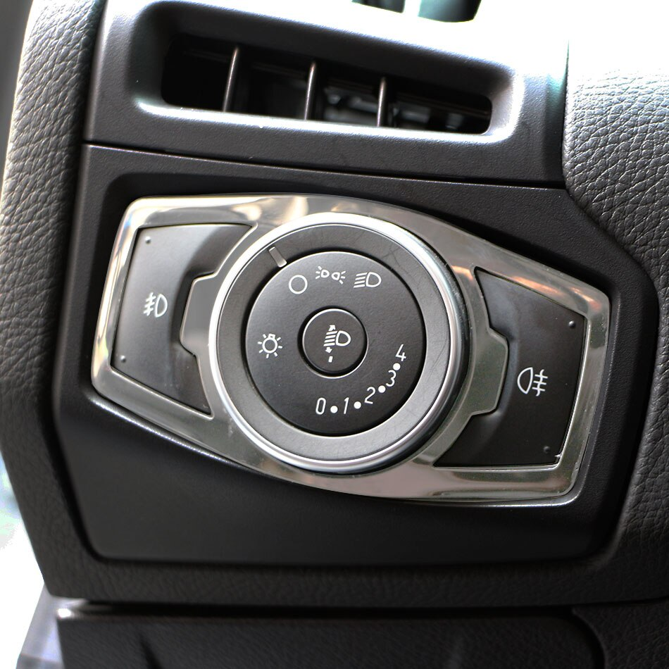 Jameo Auto Car Headlight Lamp Switch Stickers Trim for Ford Focus 3 4 Edge Mondeo Kuga Ecosport Explorer Mustang F150 F250 F350