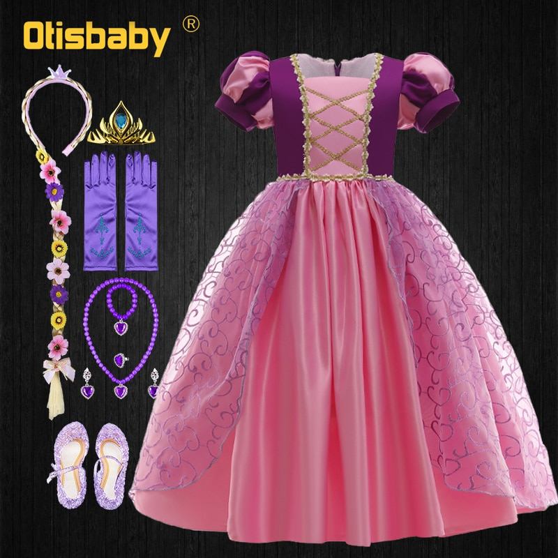 NEW Christmas Summer Dress Girl Tangled Rapunzel Princess Shein Kids Clothes Cosplay Sofia Party Ball Gown Dress Wig Accessories
