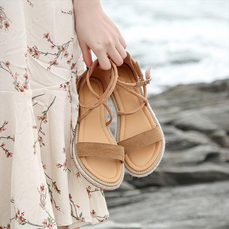 Women Hemp Sandals Woman Cross Ankle Buckle Strap Flats Platform Female Gladiator Beach Shoes Ladies Sewing Big Size 42