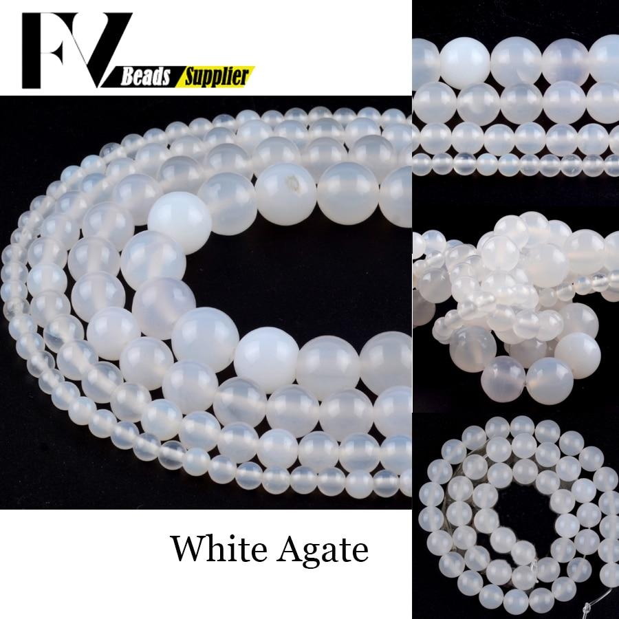 Cuentas redondas de ágata blanca Natural para fabricación de joyas, cuentas espaciadoras...