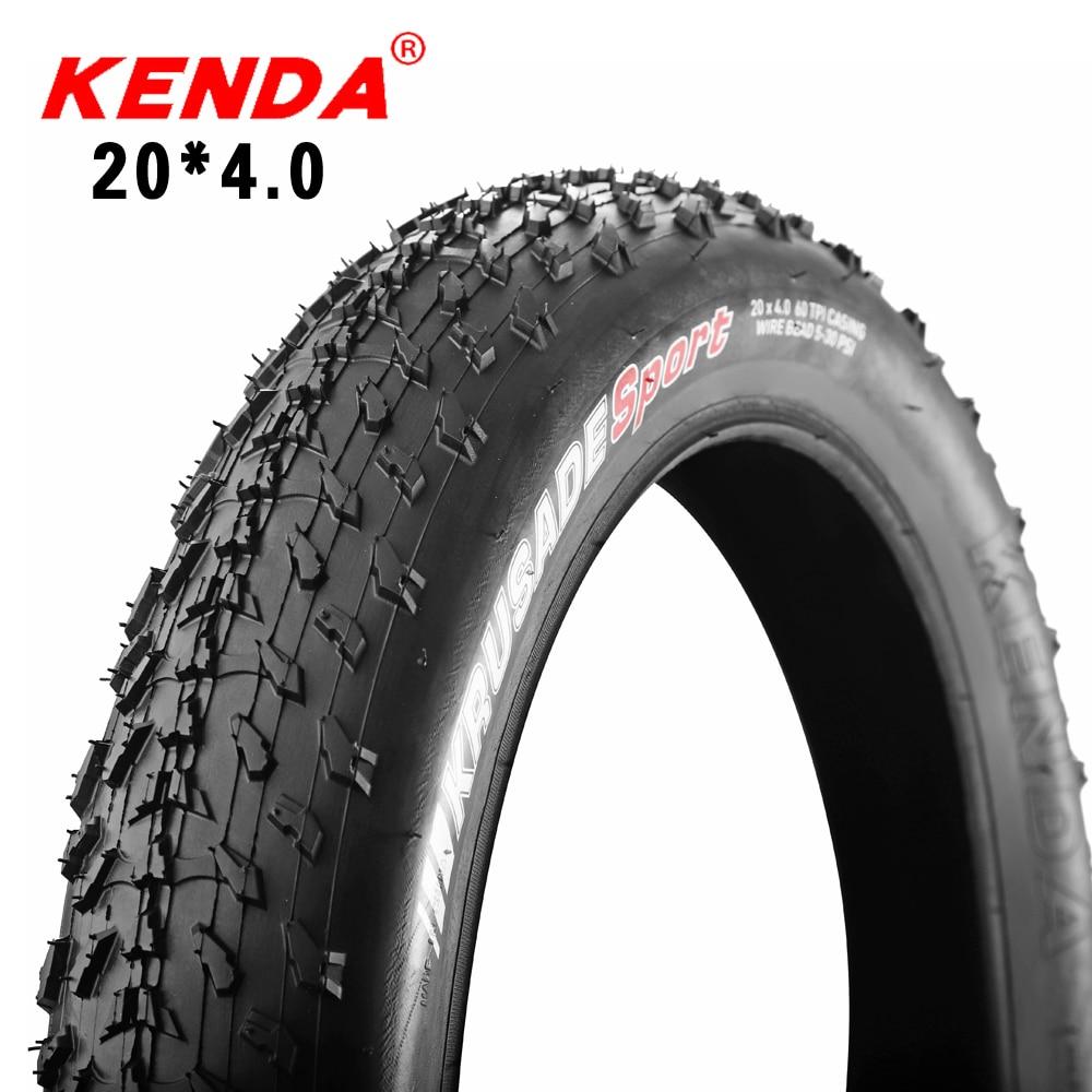 KENDA-neumático de bicicleta ATV, neumático para bicicleta de playa, 20x4,0, neumáticos gordos para bicicleta con nieve, 60TPI ultralivianos con cuentas de alambre de 1060g