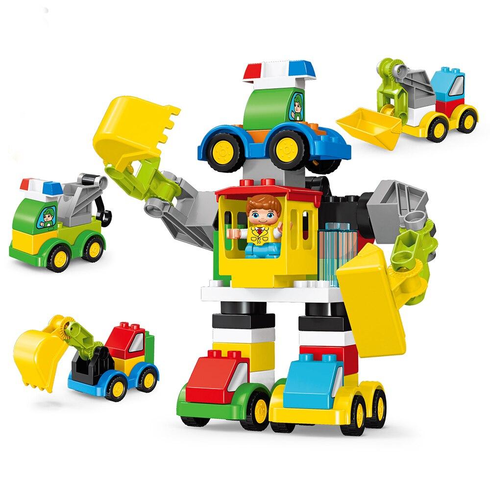49 Uds. Robot grúa excavadora DIY que se transforma bloques de construcción de automóviles Compatible con Duploe City, vehículos de construcción, juguetes para niños