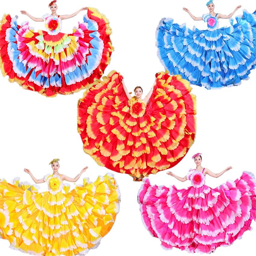 Vestido de Flamenco de 6 colores, falda de danza gitana, disfraces de mujer en el vientre, pétalo grande, Coro español, puesta en escena, ropa S-3XL