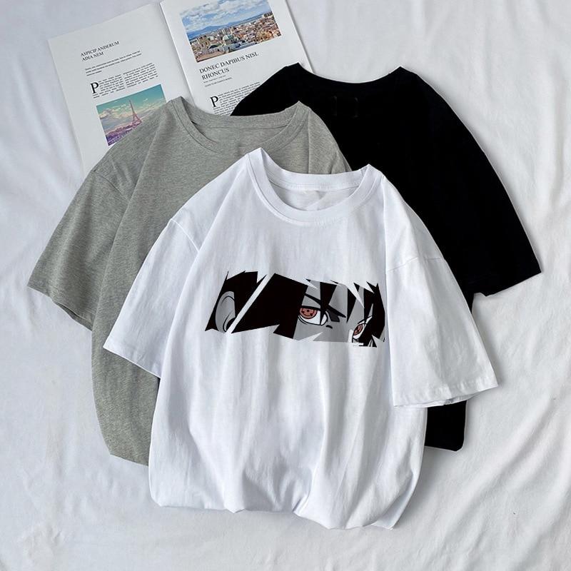 Anime camiseta Naruto manga corta Harajuku T Shirt para hombres mujeres ropa Sasuke Uchiha Camiseta Hombre Streetwear Tee Tops de verano