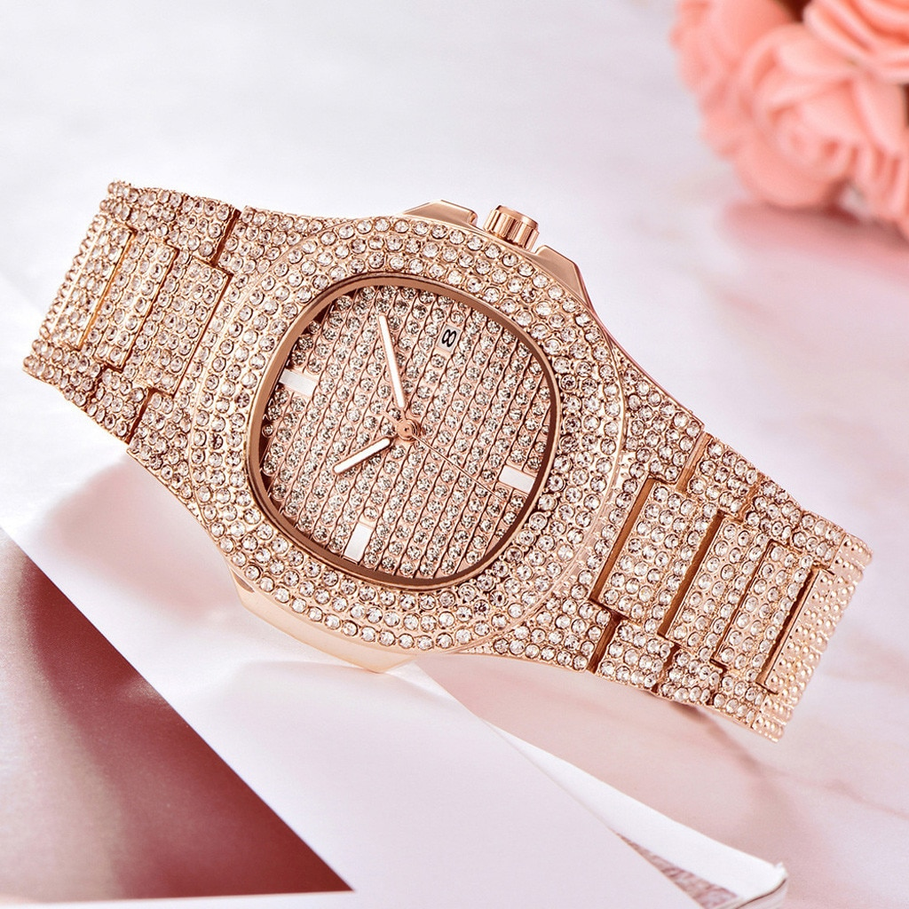 Diamond Watch Silver stainless steel Luxury Gift Full Diamond Watch For dropshipping male watch women watches top brand luxury enlarge