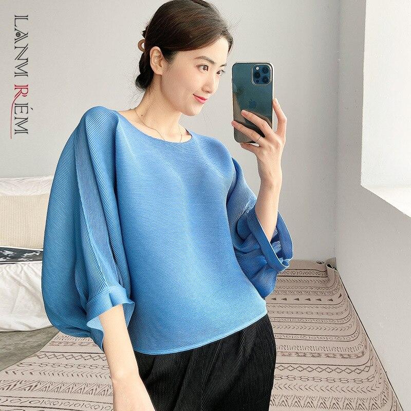 LANMREM جديد إمرأة t-shirt فضفاض مستدير الرقبة سليم البلوز مطوي قمصان موضة المد الصيف 2021 2H1009