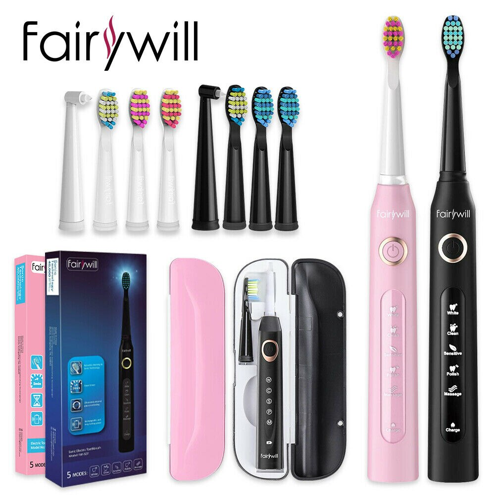 Fairywill Sonic Electric Toothbrush FW507 5 Modes Waterproof Rechargeable Toothbrush with 10 Replacement Brush Heads for Adults 10 modes automatic sonic electric toothbrush rechargeable usb charger ultrasonic teeth brush for adults 5 10 replacement heads