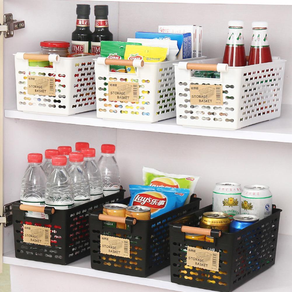 Cesta Rectangular de almacenamiento con asa para aperitivos de mesa, frutas, organización de la cocina
