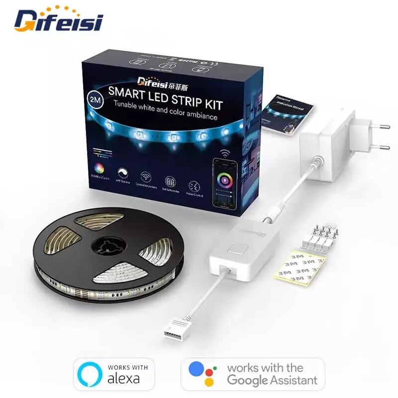 Tuya المنزل الذكي Difeisi LED ضوء الشريط 2 متر RGB الملونة واي فاي التحكم عن بعد أجواء قطاع الضوء العمل مع جوجل مساعد اليكسا