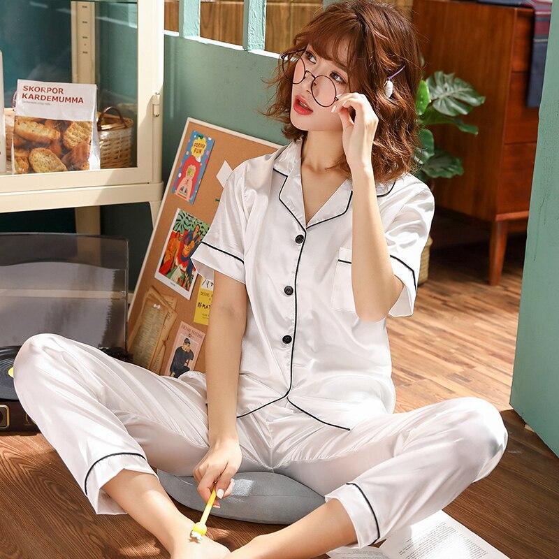 2019 new elegant luxury silk pajamas for women solid embroidery pyjamas women lounge pajama sets v neck silk satin pijama Short Sleeve Silk Pajamas Spring Women Summer Pajama Sets Silk Pijama Sleepwear Pyjamas Plus Size Nightwear Set