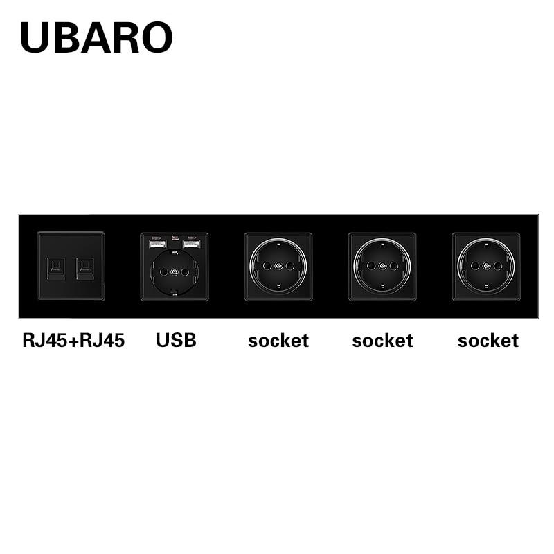 UBARO الاتحاد الأوروبي GR RU ES القياسية كريستال زجاج لوحة الجدار المقبس مع RJ45 RJ11 TV Sigal محطات التوصيل منفذ المنزل AC100-250V 16A