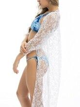 Solide ouvert avant femmes plage kimono bikini maillot de bain couvrir robe robe de plage