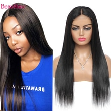 4*4 Lace Closure Wig Brazilian Straight Human Hair Wigs For  Women 180% Density Lace Wig Pre Pluck