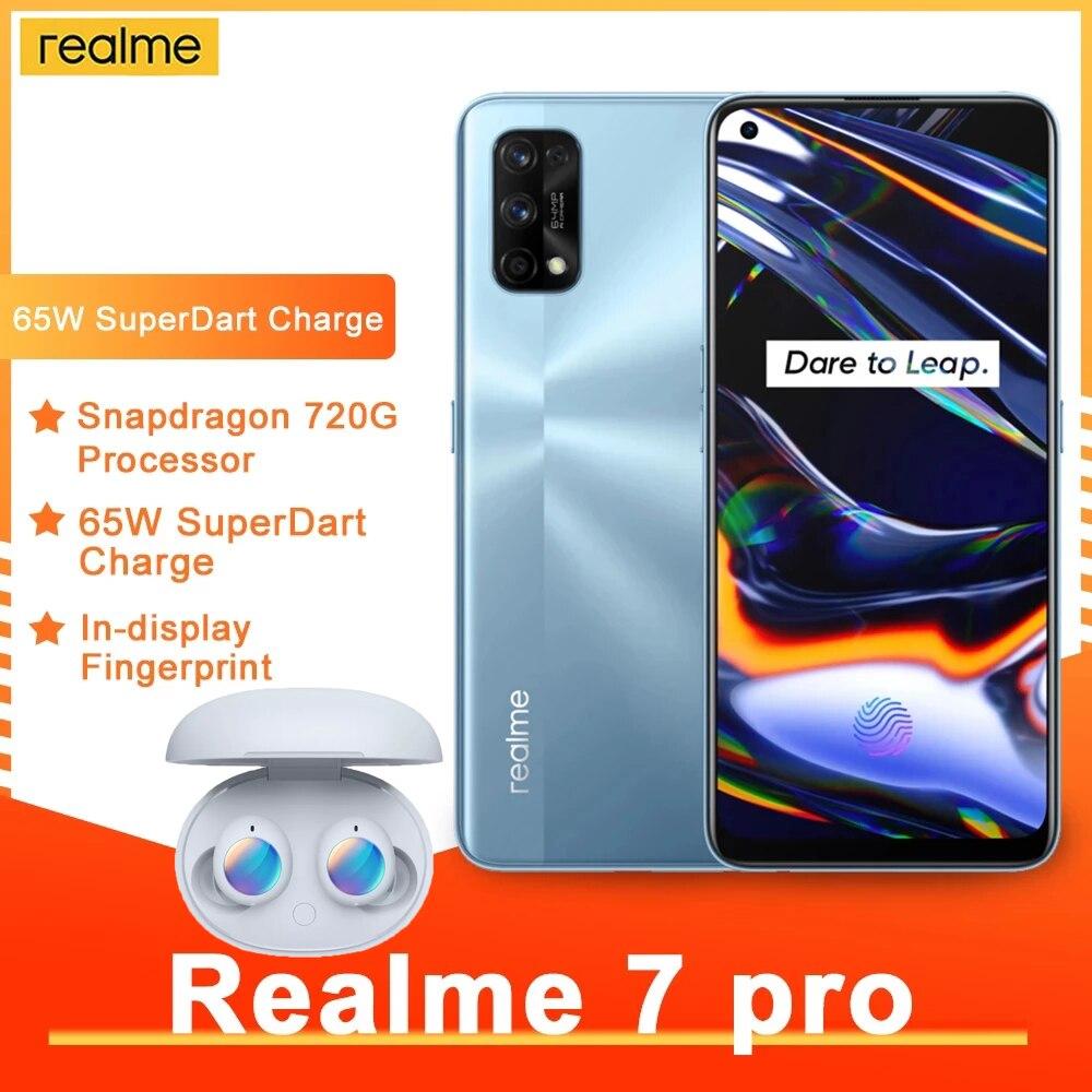 Перейти на Алиэкспресс и купить Realme 7 Pro 8 Гб 12 Гб глобальная смартфон 65 Вт Быстрая зарядка отпечатков пальцев разблокированная полный экран мобильного телефона Snapgragon 720 г иг...