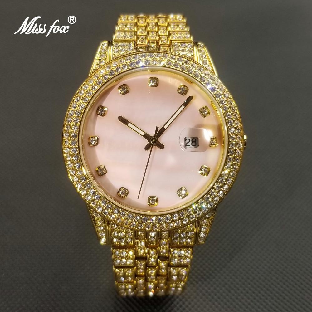 MISSFOX الهيب هوب ساعة ماسية للنساء موضة فاخرة الوردي الهاتفي ساعة كوارتز سيدة فستان مثلج خارج مساء اللباس Relogio Feminino
