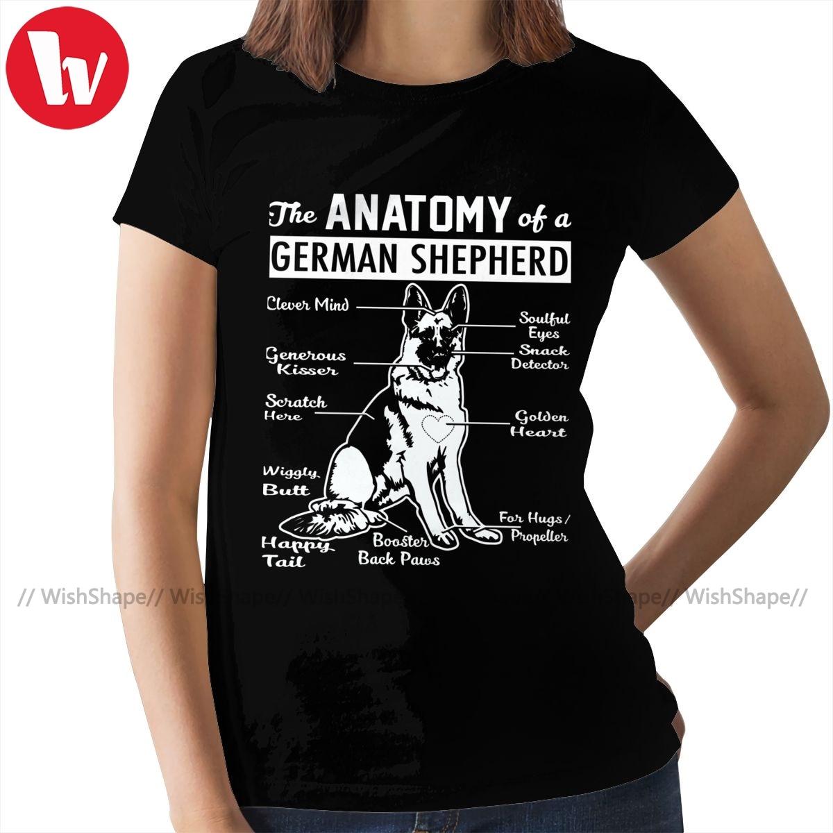 Camiseta de Pastor Alemán, camiseta de anatomía, camiseta de moda urbana de manga corta para mujer, Camiseta de cuello redondo para mujer