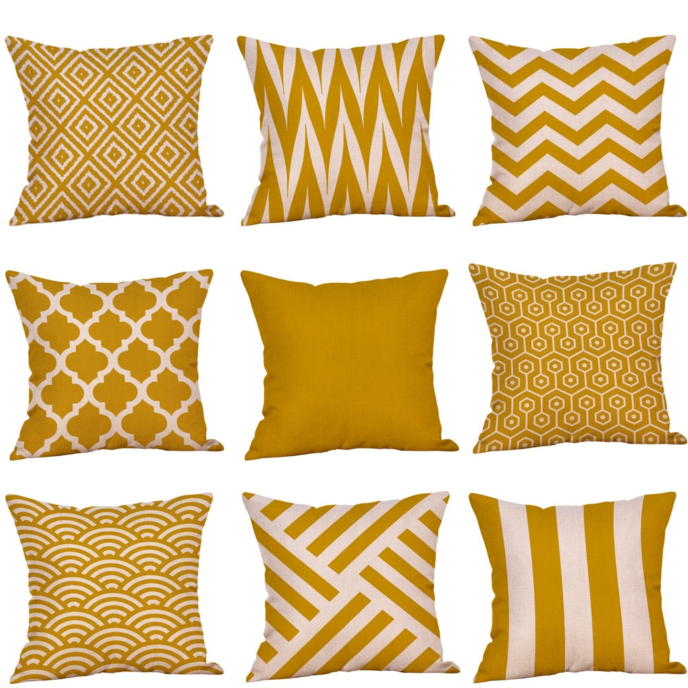 Funda de almohada cojin n. ° L5, 45x45cm, color mostaza, amarilla, Otoño, cojín geométrico, almohada decorativa para coche