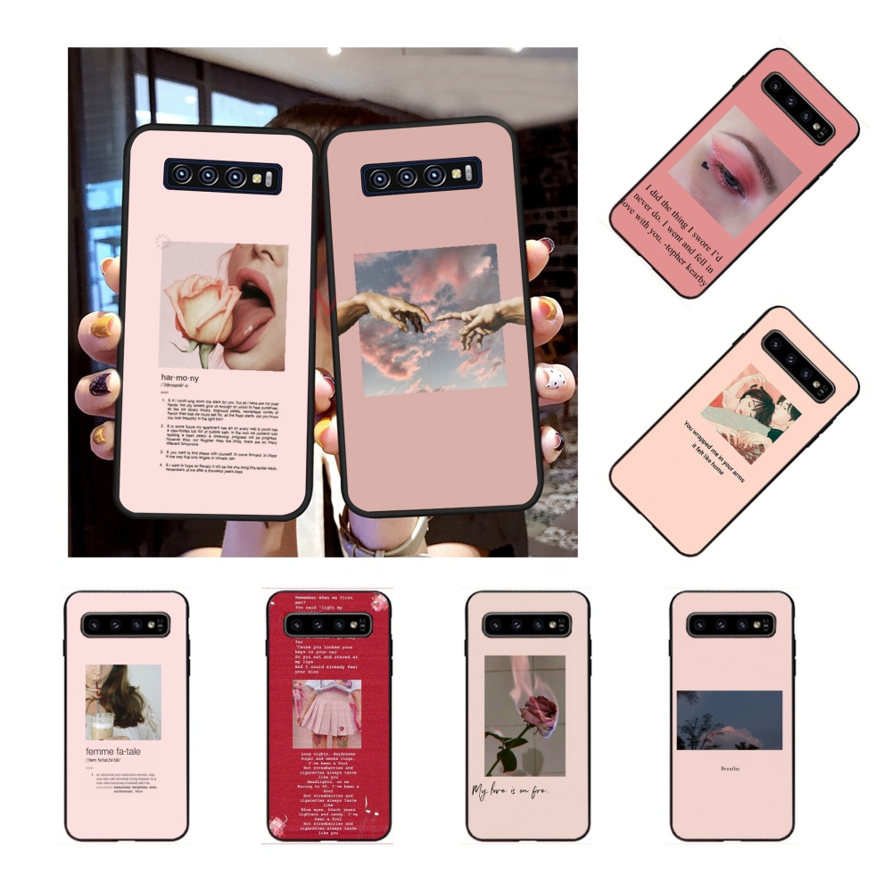 NBDRUICAI Pink Aesthetics songs lyrics Aesthetic  Phone Cover for Samsung S9 plus S5 S6 edge plus S7 edge S8 plus S10 E S10 plus