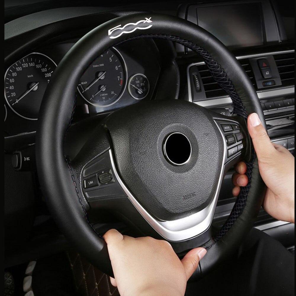 Cubierta de volante trenzada de cuero genuino de 15 pulgadas para Fiat 500x, accesorios de Interior de coche