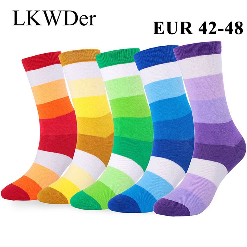 LKWDer 5 par skarpety męskie Business Casual szczęśliwe skarpetki bawełna wysokiej jakości skarpetki mężczyźni duży duży rozmiar EUR 42-48 Calcetines Mujer