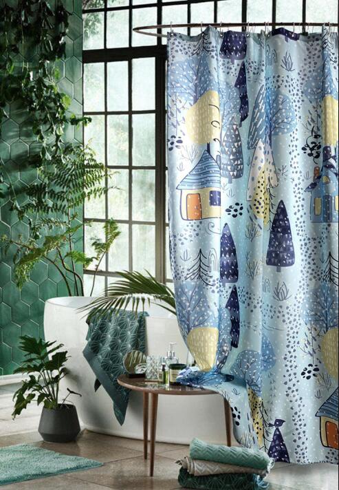 Anti-mildew Shower Curtain Cartoon Plant Thicken Aesthetic Shower Curtain Separate Door Fabric Cortina Bathroom Decor DI50YL enlarge