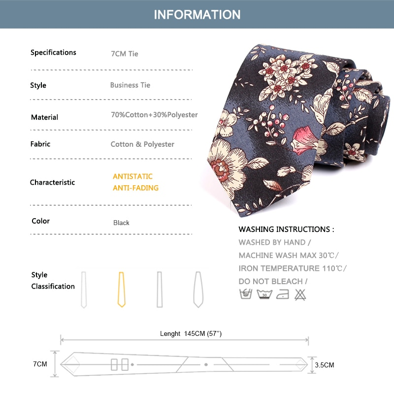 Luxury Floral Print Tie New Design 7CM Cotton Ties For Men Business Suit Work Necktie Male Fashion Casual Neck Tie With Gift Box
