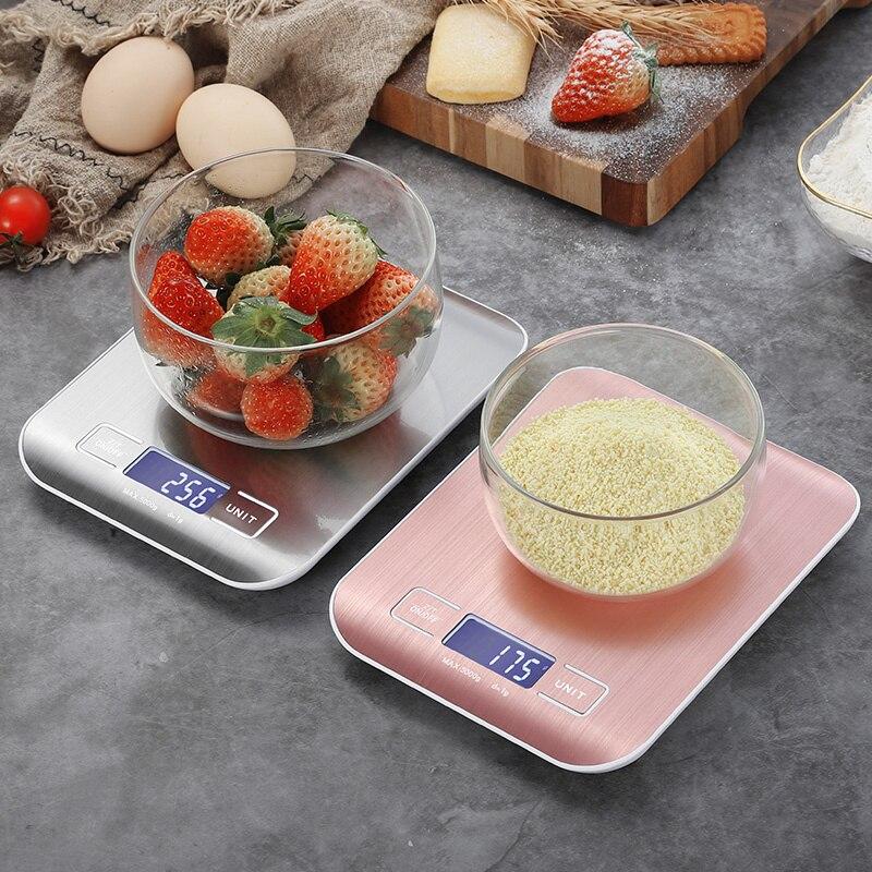موازين المطبخ الرقمية 5 كجم 10 كجم/1 جرام الفولاذ المقاوم للصدأ LCD الإلكترونية الغذاء حمية البريدي التوازن قياس أدوات الوزن الميزان