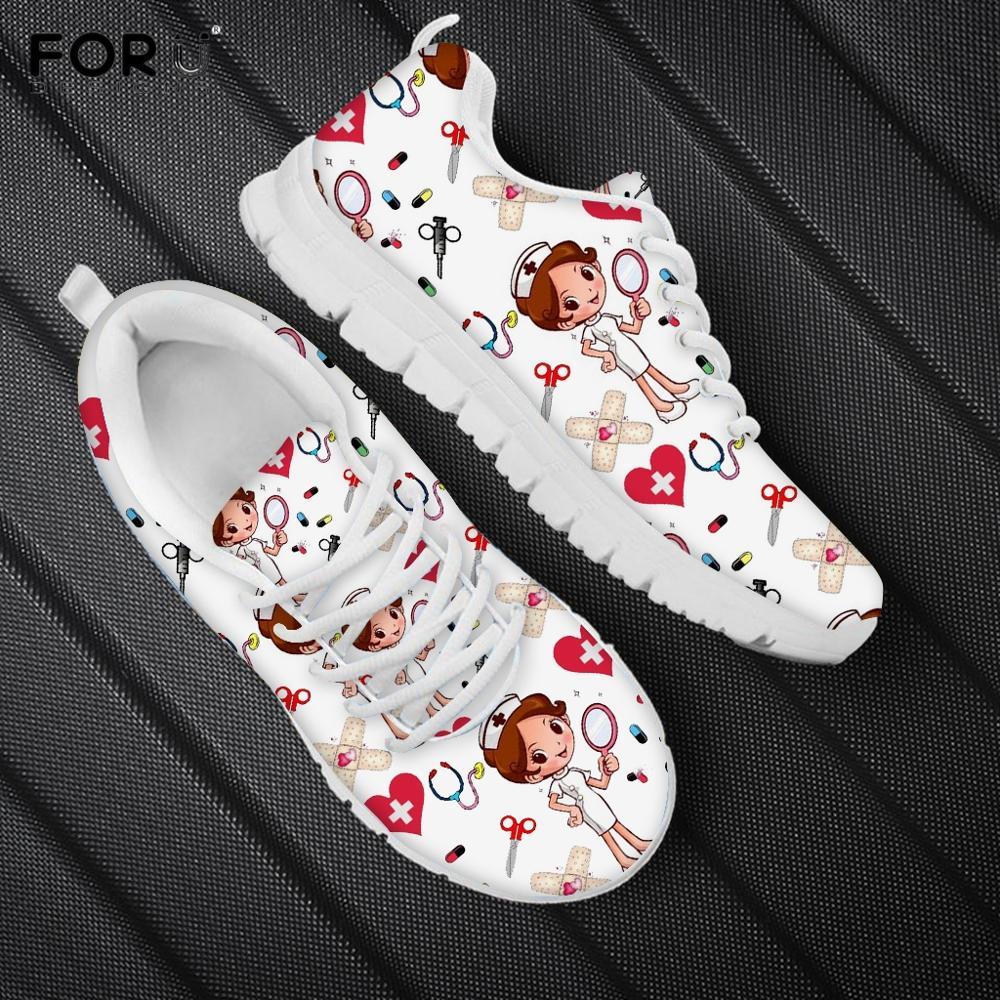 FORUDESIGNS Nursing Shoes for Women Cartoon Nurse Pattern Woman's Flats Shoes Breath Lace Up Sneakers Casual White Ladies Shoe