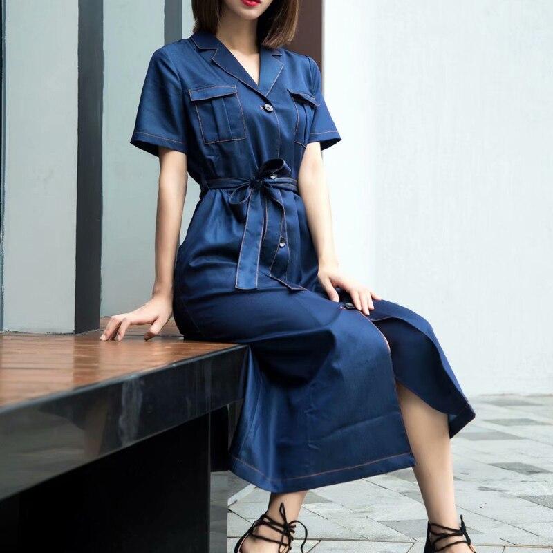 ¡Nuevo! Vestido de diseñador de pasarela Tencel Denim con bolsillo azul con cinturón cruzado ajustado de alta calidad para primavera y verano para mujer