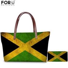 FORUDESIGNS Jamaica Flag Pattern Shoulder Bags Set Luxury Women Multifunction Top-handle Bag Clutch Wallets for Ladies Handbags