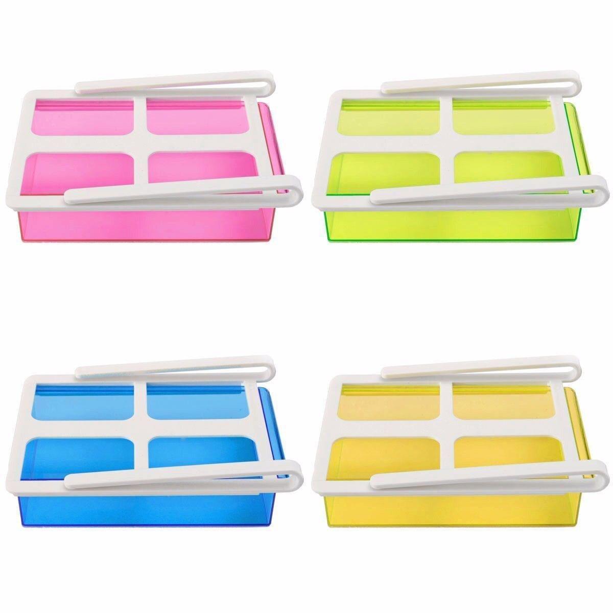 Organizador de almacenamiento para almacenaje para nevera de cocina estante deslizante congelador estante azul nevera