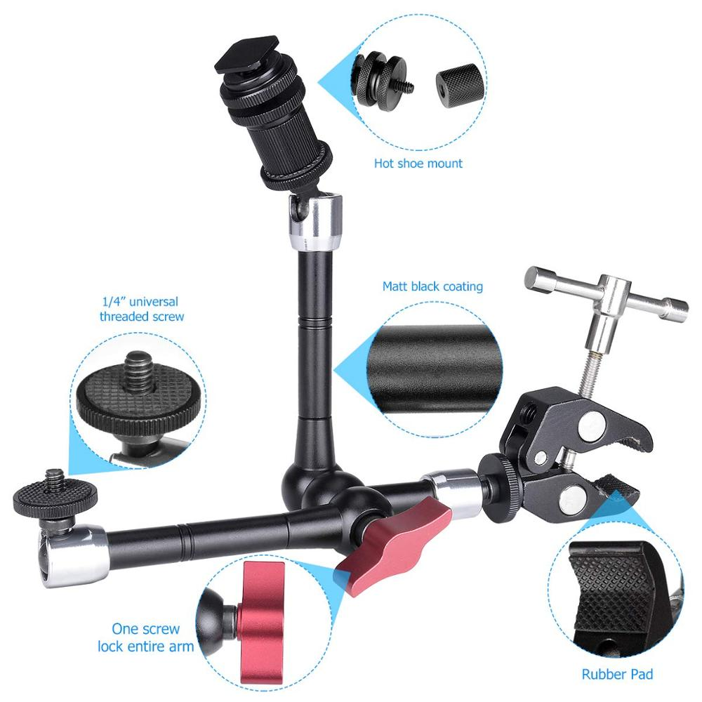 Brazo mágico articulado para cámara DSLR de doble cabezal, brazo de fricción para videocámara, soporte de montaje de abrazadera Compatible con cámara y teléfono